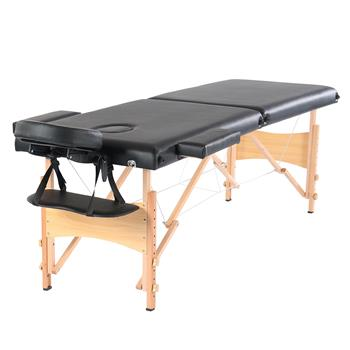 "84"" 2 Sections Folding Portable Beech Leg Beauty Massage Table 60CM Wide Adjustable Height Black"