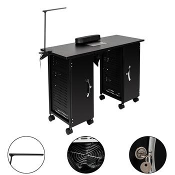 Iron Manicure Station Large Table with LED Lamp & Arm Rest Salon Spa Nail Equipment Black