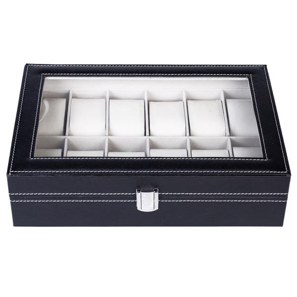 12 Compartments Top-level Opening Style Leather Watch Collection Box Black