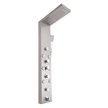 57.6 inch Shower Panel Tower System Stainless Steel 6 in 1 Multi-Function Shower Panel Silver