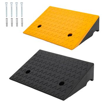 "2PCS Rubber Car Curb Ramps, 5"" Rise Portable Lightweight Threshold Ramp Set Heavy Duty Loading Ramp Slope Motorcycle Pad for Driveway, Sidewalk, Loadi"