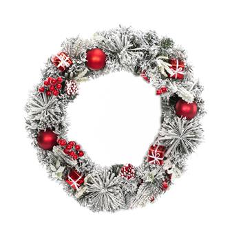 Artisasset Christmas Wreath Decorated With a Snow-White Effect Apple Gift Box