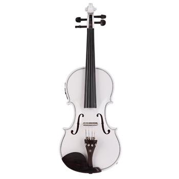 Glarry GV102 4/4 Solid Wood EQ Violin Case Bow Violin Strings Shoulder Rest Electronic Tuner Connecting Wire Cloth White