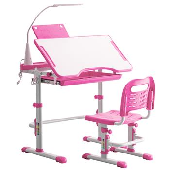 Student Desks and Chairs Set C Style with Light White Lacquered White Surface and Pink Plastic [70x48x(52-74)cm]