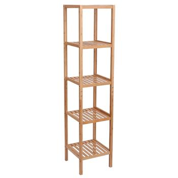 100% Bamboo Bathroom Shelf 5-Tier Multifunctional Storage Rack Shelving Unit 146*33*33cm Natural