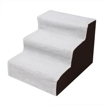 3 Step Black Plush & Velvet Suede Pet Stairs Pet Step Stairs Cat Dog White Brown
