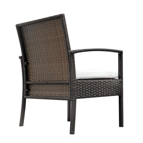 2pcs Arm Chairs 1pc Love Seat & Tempered Glass Coffee Table Rattan Sofa Set Brown Gradient