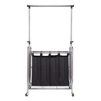 Black 4-Bag Laundry Sorter with Adjustable Hanging Bar Carters