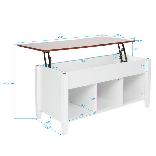 Lift Top Coffee Table Modern Furniture Hidden Compartment and Lift Tabletop Brown White