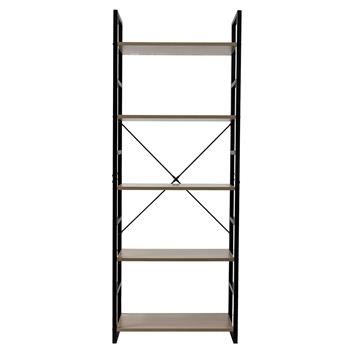 5 Tier Bookcase Shelf Storage Organizer Wood and Metal Bookshelf Rack Gray