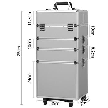 4-in-1 Draw-bar Style Interchangeable Aluminum Rolling Makeup Case Silver