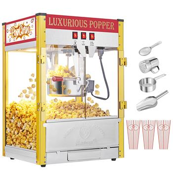 ZOKOP 120V-60HZ ZPM-R 850W 8oz Red Double Door Large Capacity Retro Popcorn Machine Countertop/Table Half Machine