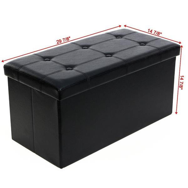 FCH PU Leather Footstool with Leather Footstool Black 76*38*38cm