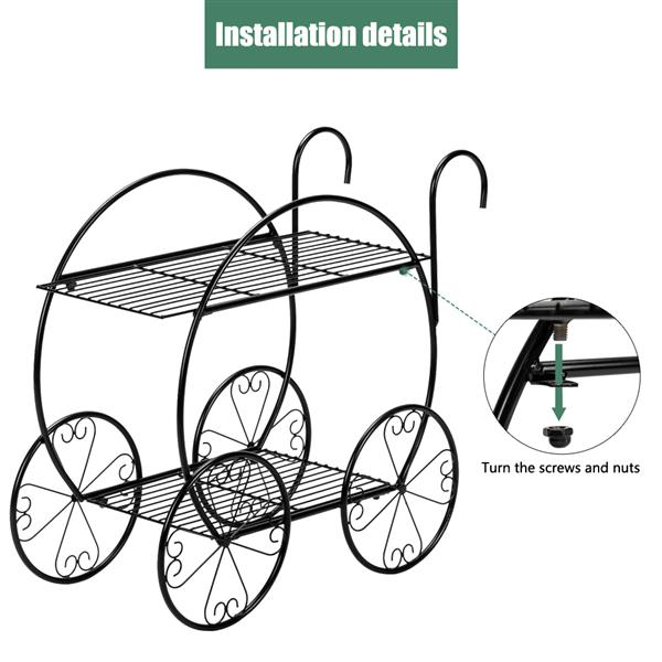 Artisasset Paint With Handle Cart Shape 2 Layer Plant Stand Black