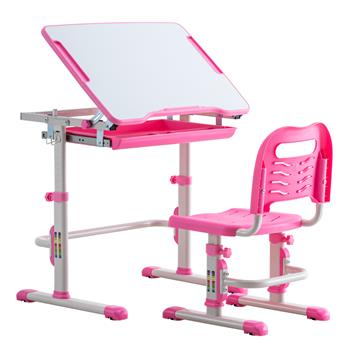 Student Desks and Chairs Set C Style White Lacquered White Surface Pink Plastic [70x38x(52-74)cm]