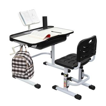 80CM Hand-cranked Lifting Top Can Tilt Children Learning Table And Chair Black (With Reading Stand Without Desk Lamp)