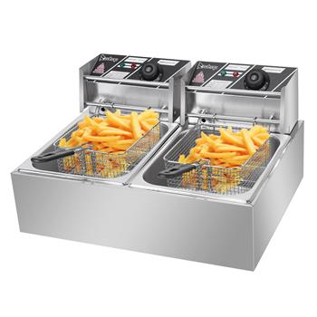 ZOKOP EH82 5000W MAX 110V 12.7QT/12L Stainless Steel Double Cylinder Electric Fryer US Plug