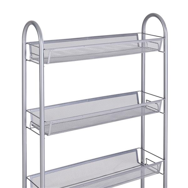 Honeycomb Mesh Style Four Layers Removable Storage Cart Silver