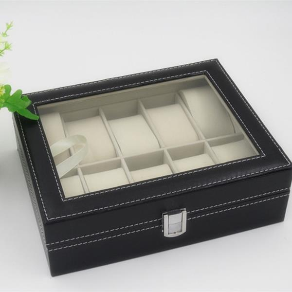 10 Compartments High-grade Leather Watch Collection Storage Box Black