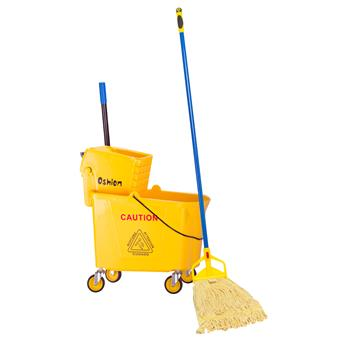 Wavebrake Mopping System Bucket and Side-Press Wringer Combo, 36L 34Quart 9.5Gallon Yellow