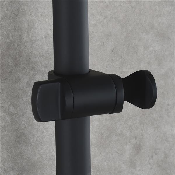 Stainless Steel Black Shower Sliding Bar 31.5 Inches for Bathroom Drilling-free