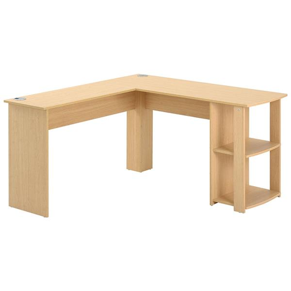 Computer Desk L-shaped Writing Table 2 Shelves Spacious Tabletop Workstation Desk for Home Office, Wood Color