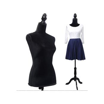 Half-Length Foam & Brushed Fabric Coating Lady Model for Clothing Display Black