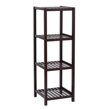 100% Bamboo Bathroom Shelf 4-Tier Multifunctional Storage Rack Shelving Unit 33 X 33 X 98cm-Dark Brown