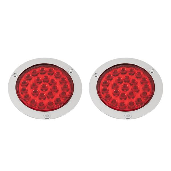 """2x 4"""" Round Sealed 24-LED Red Stop Turn Tail Brake Light For Truck Trailer Bus"""