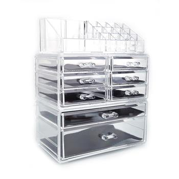 SF-1122-1 Cosmetics Storage Rack with 6 Small & 2 Large Drawers Transparent
