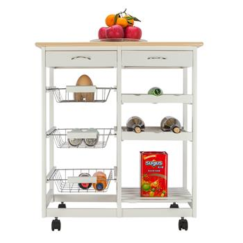 FCH Moveable Kitchen Cart with Two Drawers & Two Wine Racks & Three Baskets White