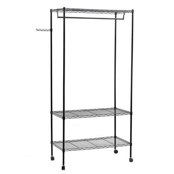 3-Tier Closet Organizer Metal Garment Rack Portable Clothes Hanger Home Shelf