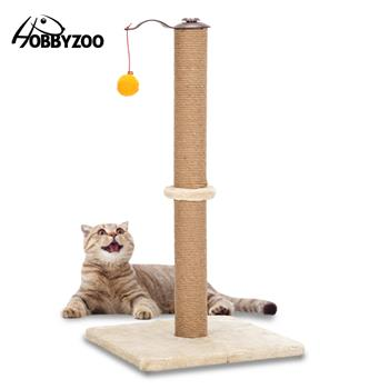"HOBBYZOO 26"" 360°Rotatable Cat Climb Holder Tower Cat Tree Cat Scratching Sisal Post Tree Climbing Tower Beige with Two Toys"
