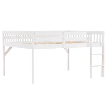"Children's Pine Elevated Bed Vertical Version Straight Bedside 43 ""H Full White"