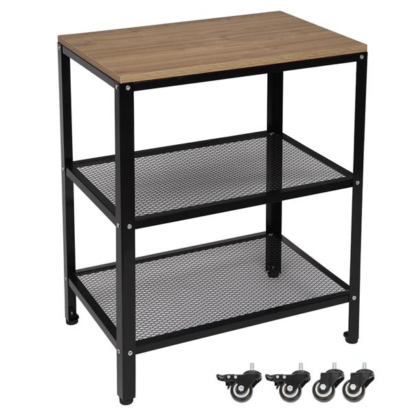 3-Tier Kitchen Microwave Cart, Rolling Kitchen Utility Cart, Standing Bakers Rack Storage Cart with Metal Frame for Living Room Grey