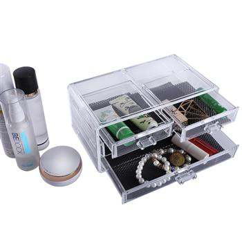 SF-1005-2 Plastic Cosmetics Storage Rack 2 Small Drawers and 2 Larger Drawers Transparent