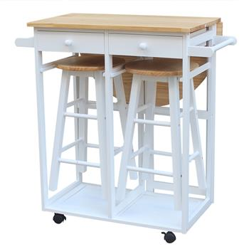 FCH Semicircle Solid Wood Folding Dining Cart with 2 Free Stools White
