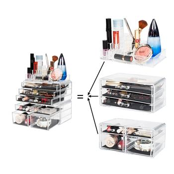SF-1122-1 Cosmetics Storage Rack with 4 Small & 3 Large Drawers Transparent
