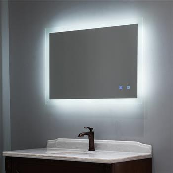 40 x 24 inch Backlit LED Lighted Bathroom/Vanity Mirror+Anti Fog+Dimmable+Touch Button+Slim+90 CRI+Waterproof IP44+Vertical & Horizontal Wall Mounted