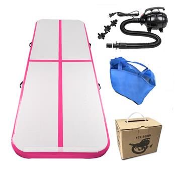10' x 3.3' Inflatable Gymnastic Mat Air Track Tumbling Mat with Pump Air Floor for Home Use, Beach, Park and Water Pink & Gray