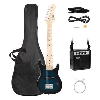 "Glarry 30"" Maple Fingerboard Electric Guitar Amplifier Bag String Shoulder Strap Plectrum Cord Wrench Tool Dark Blue"