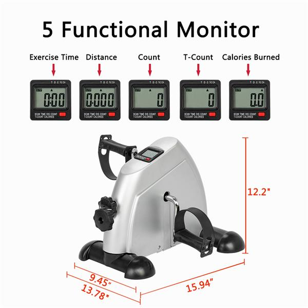 W002K Home Use Hands and Feet Trainer Mini Exercise Bike Silver