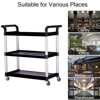 Heavy Duty 3-Shelf Rolling Service / Utility / Push Cart, 330 lbs. Capacity, Black, for Foodservice / Restaurant / Cleaning