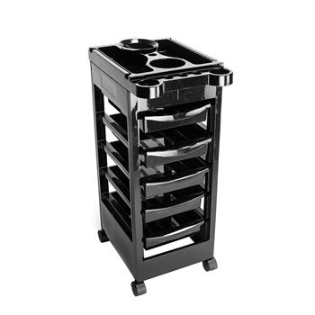 5 Tiers Removable Portable Plastic Hairdresser Beauty Storage Trolley Black