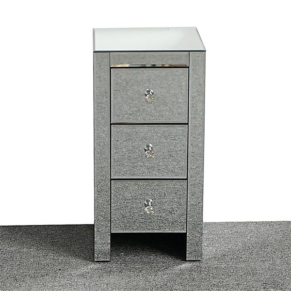 Mirrored Glass Bedside Table with Three Drawers Size S