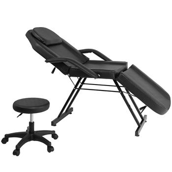 Adjustable Beauty Salon SPA Massage Bed Tattoo Chair with Stool Black