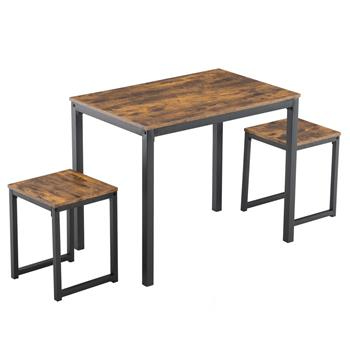 Simple Three-piece Dining Table and Chair Set, Burnt Wood Color 75cm High (90 x 60 x 75cm)