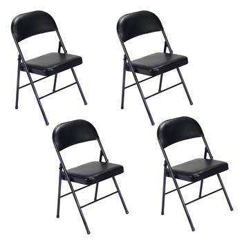 4pcs Elegant Foldable Iron & PVC Chairs for Convention & Exhibition Black