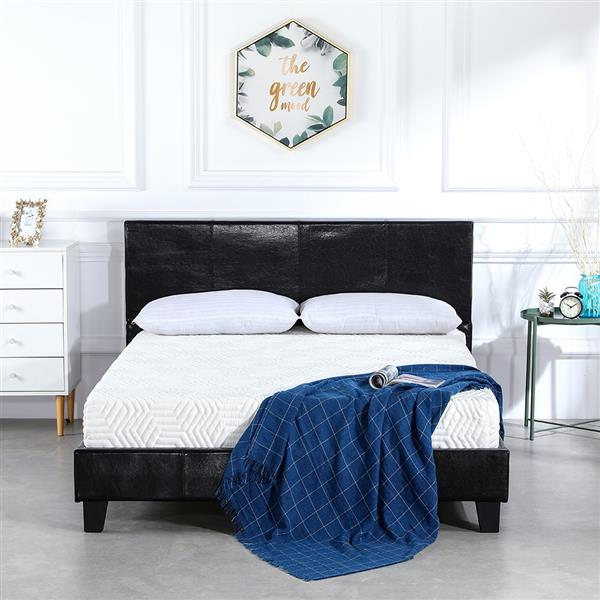 Simple PU Bed Frame Black Twin