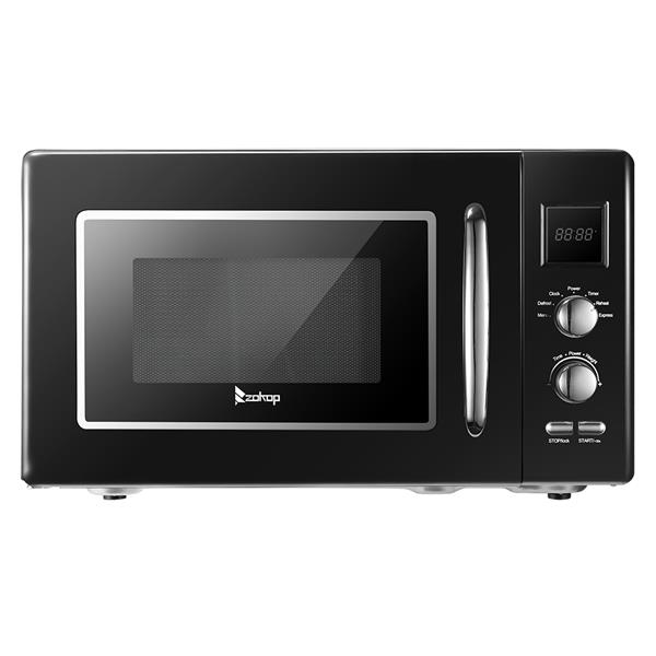 ZOKOP B25UXP45-A90 / Black 23L / 0.9cuft Retro Microwave With Display/Silver Handle